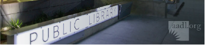 Image of of the sign that says 'Public Library' at the Downtown Library