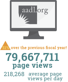 Image highlighting over 79 million aadl.org page visits, a 51% increase over previous year