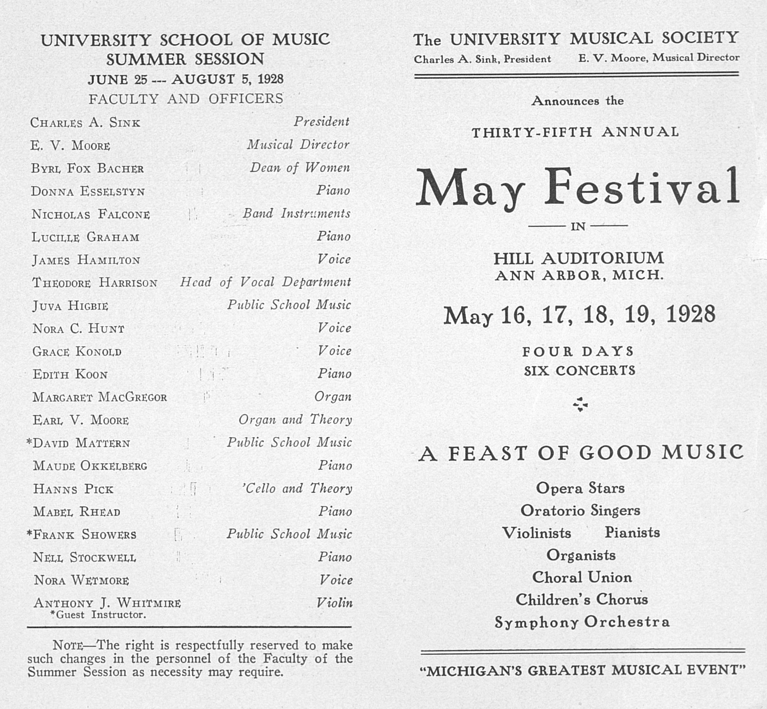 UMS Concert Program May 16 17 18 19 1928 May Festival – Concert Program