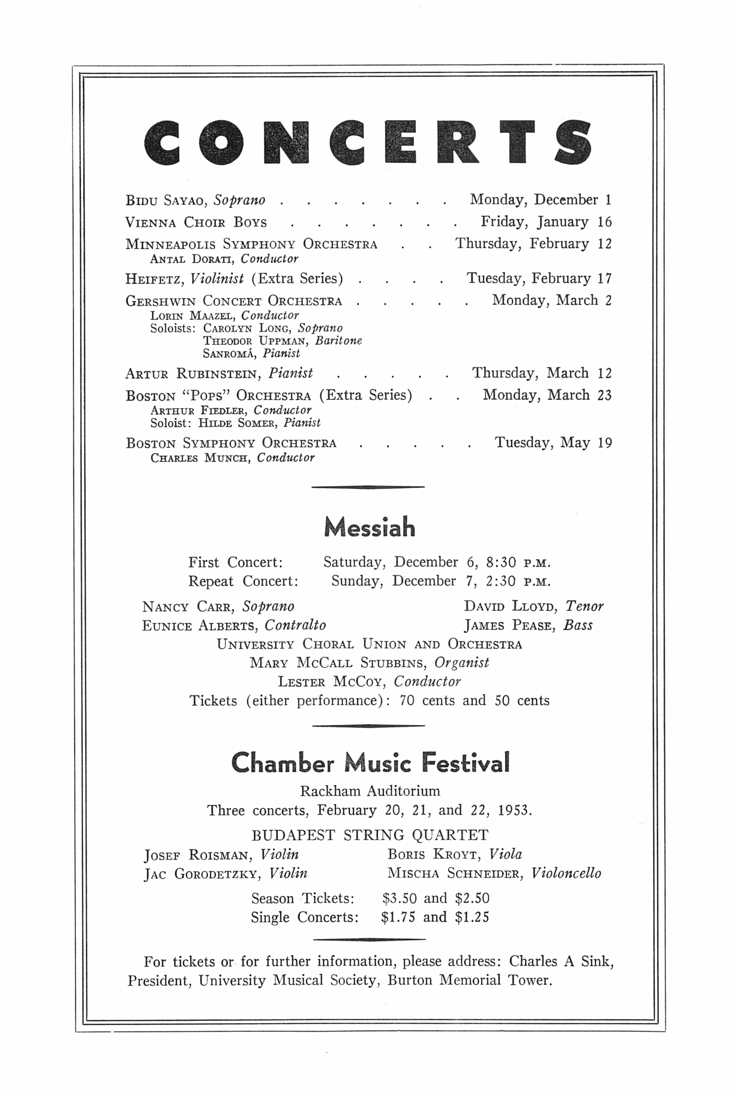 UMS Concert Program Tuesday Evening November 25 1952 Seventh – Concert Program