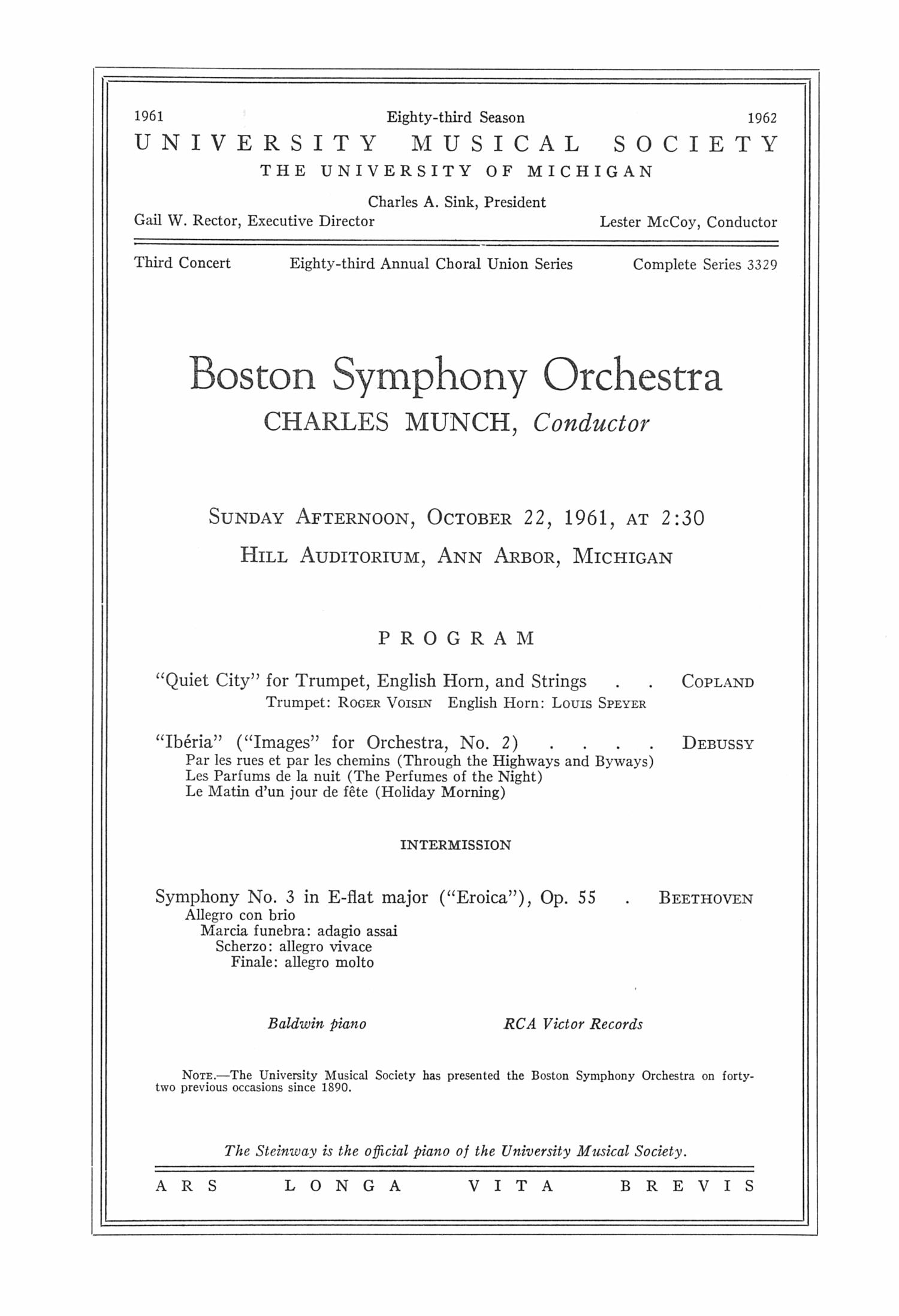 Ums Concert Program October 22 1961 Boston Symphony