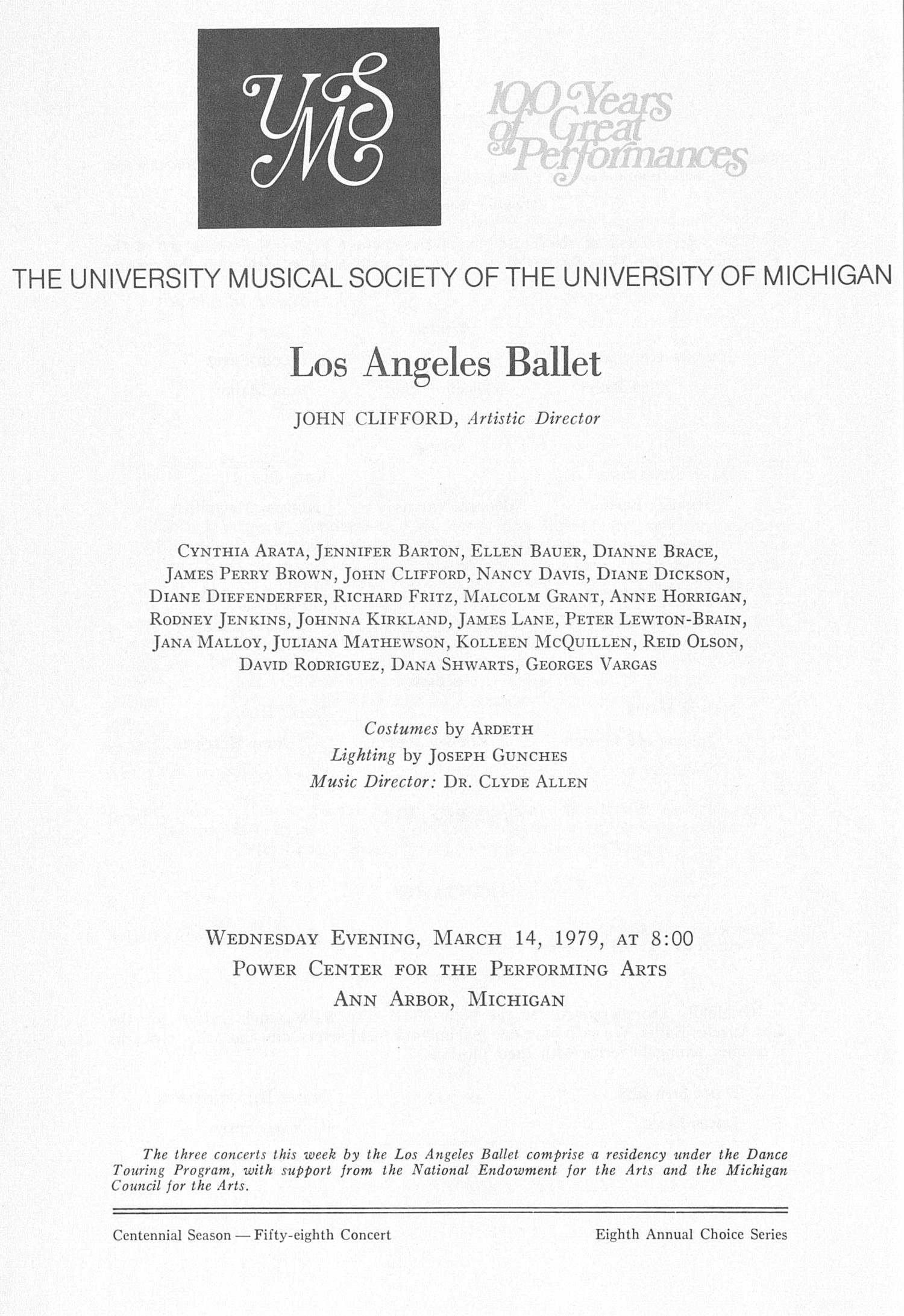 Ums Concert Program March 14 1979 Los Angeles Ballet