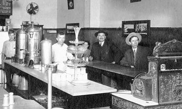 Photograph of staff and customers inside Prochnow's Dairy Lunch