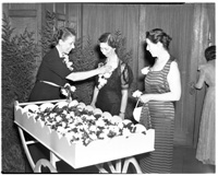 Handing Out Corsages at the Federated Garden Clubs of Michigan Convention Banquet