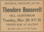 Announcement of a talk given by Theodore Roosevelt, March 29, 1927