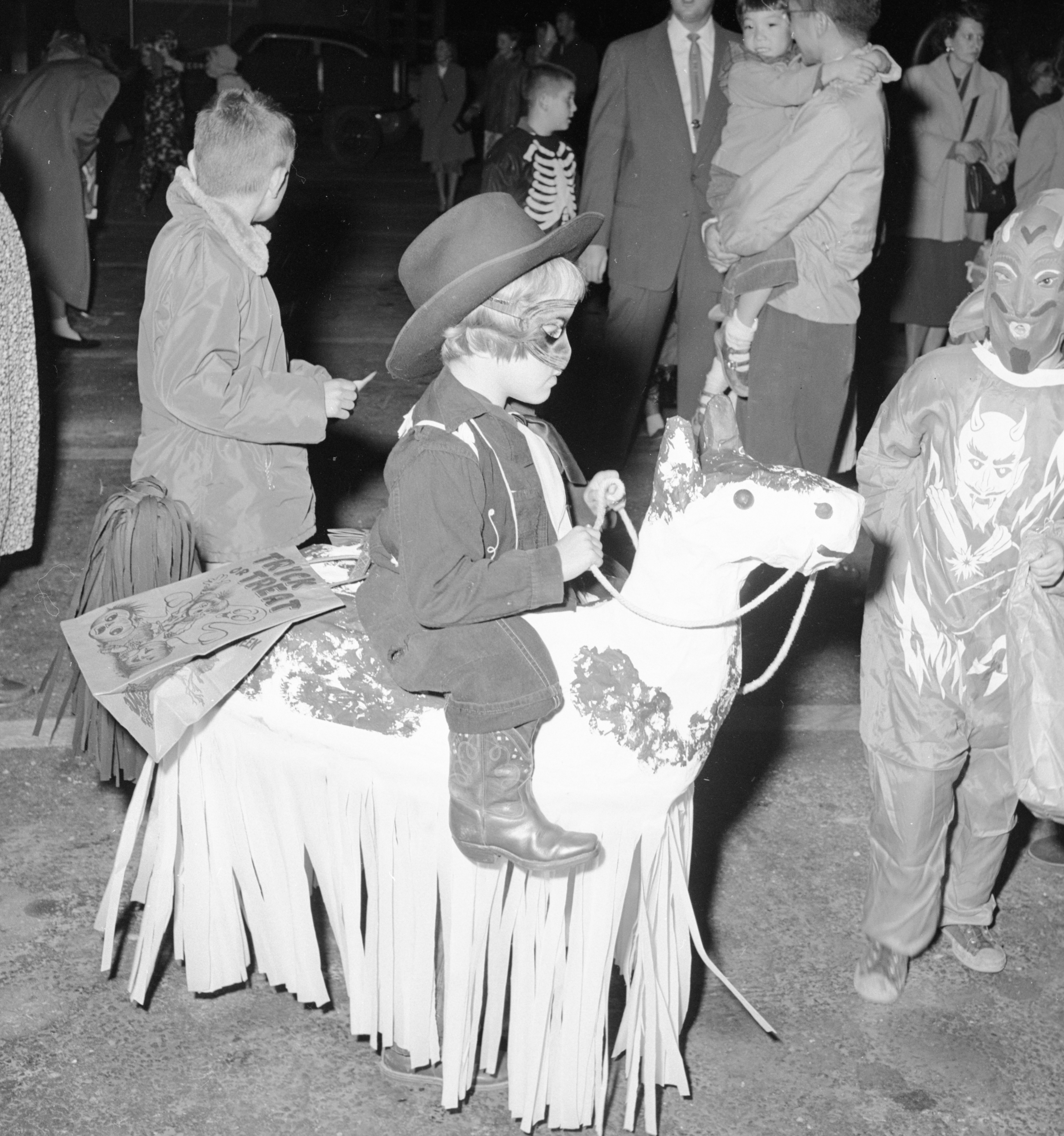 Girl On Horse at JCC Halloween Party, October 1955 | Old News