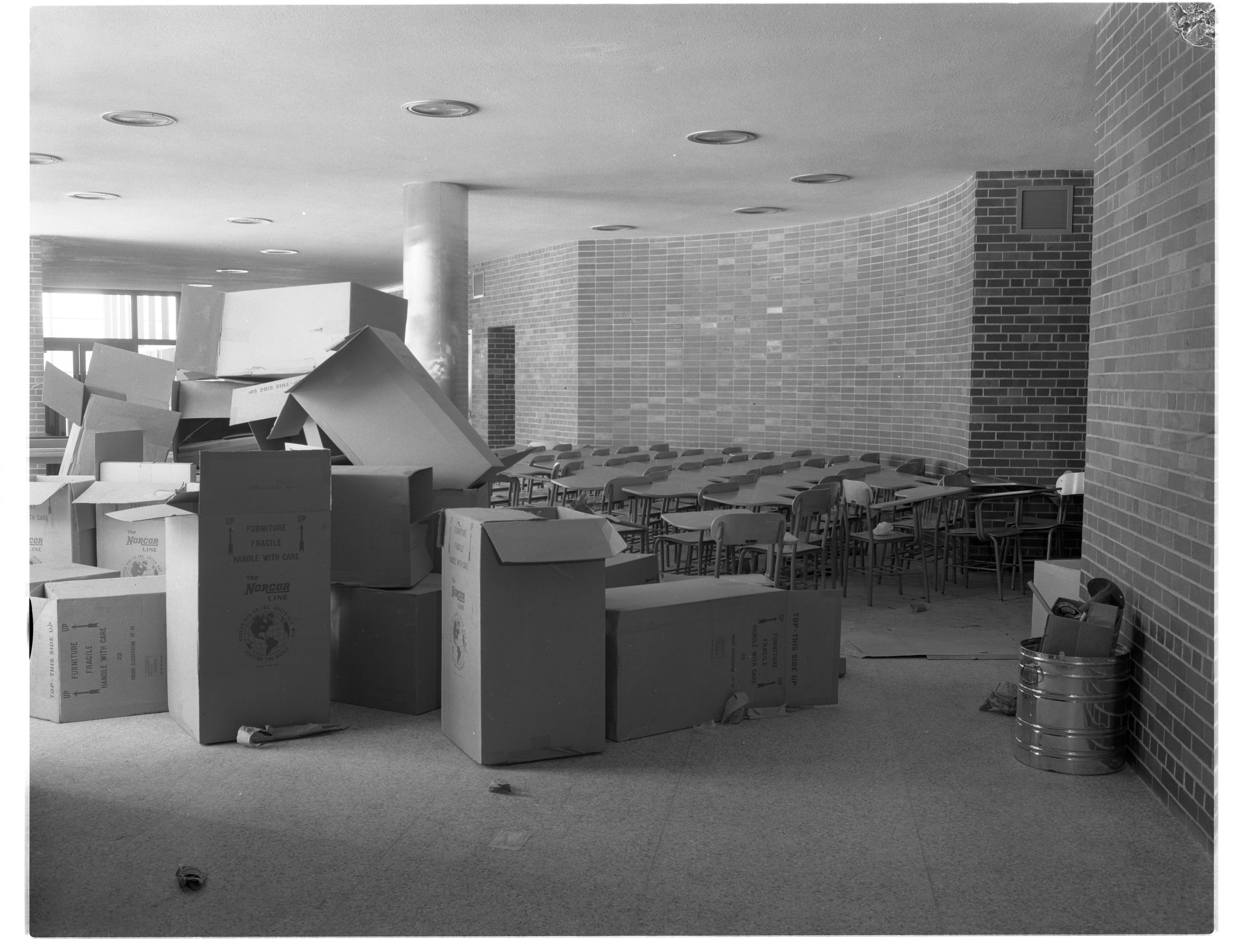 Brand New Furniture Arrives At New Ann Arbor High School, February 1956