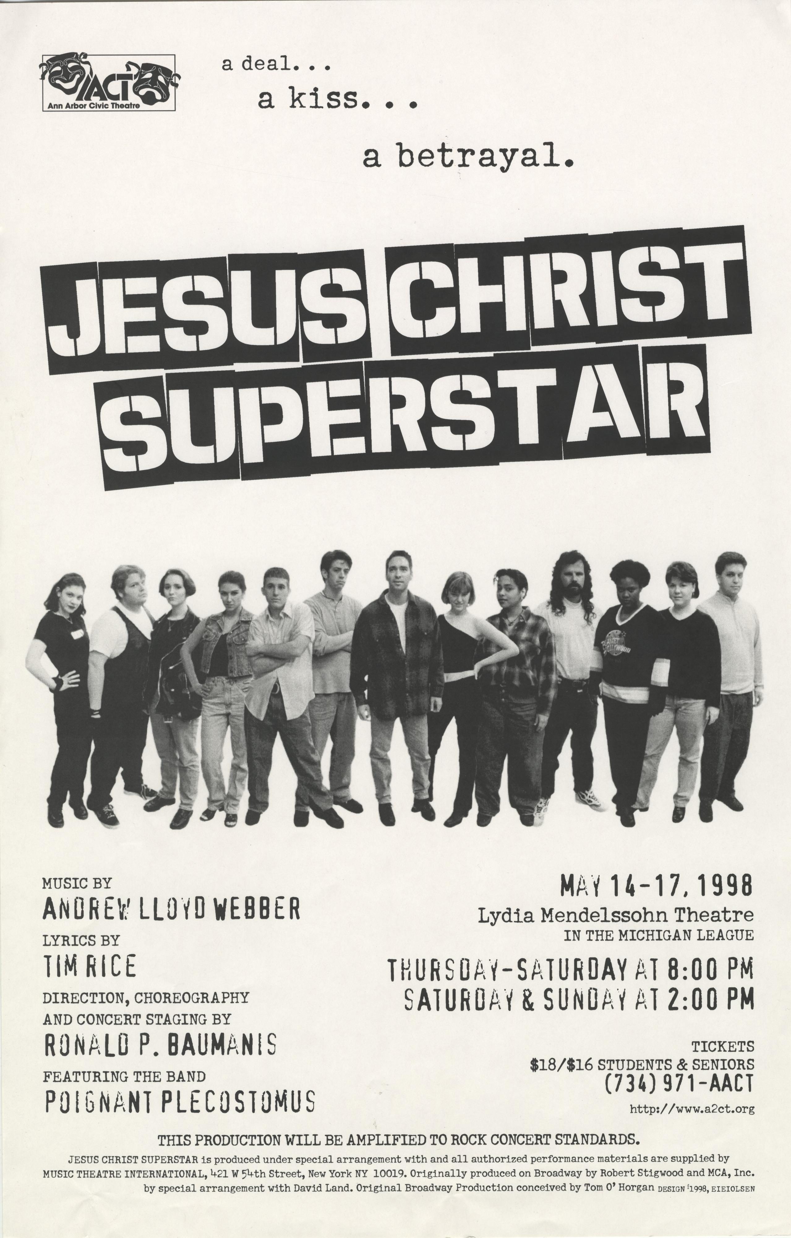 ann arbor civic theatre poster  jesus christ superstar