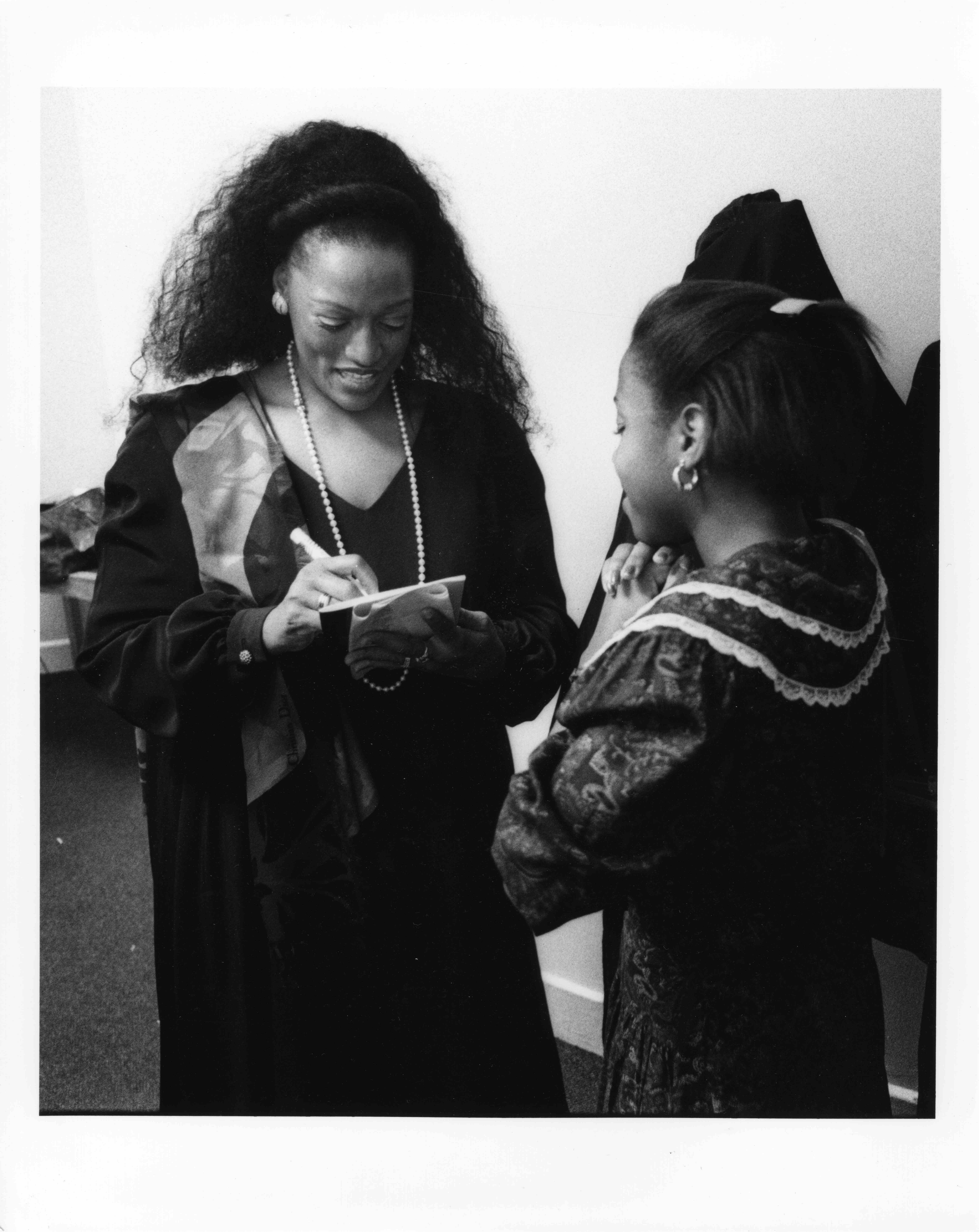 Jessye Norman signs autograph for Athena Jenkins, April 30, 1991