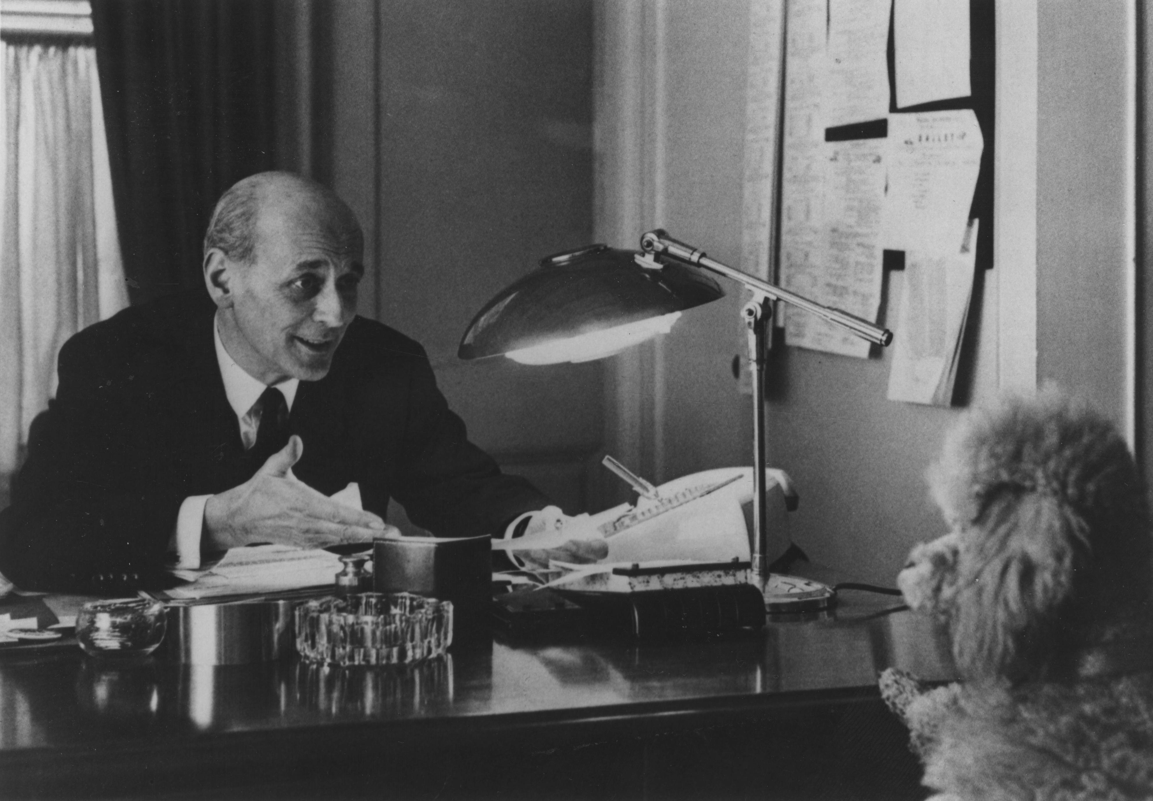 Rudolf Bing with Tebaldi's Poodle