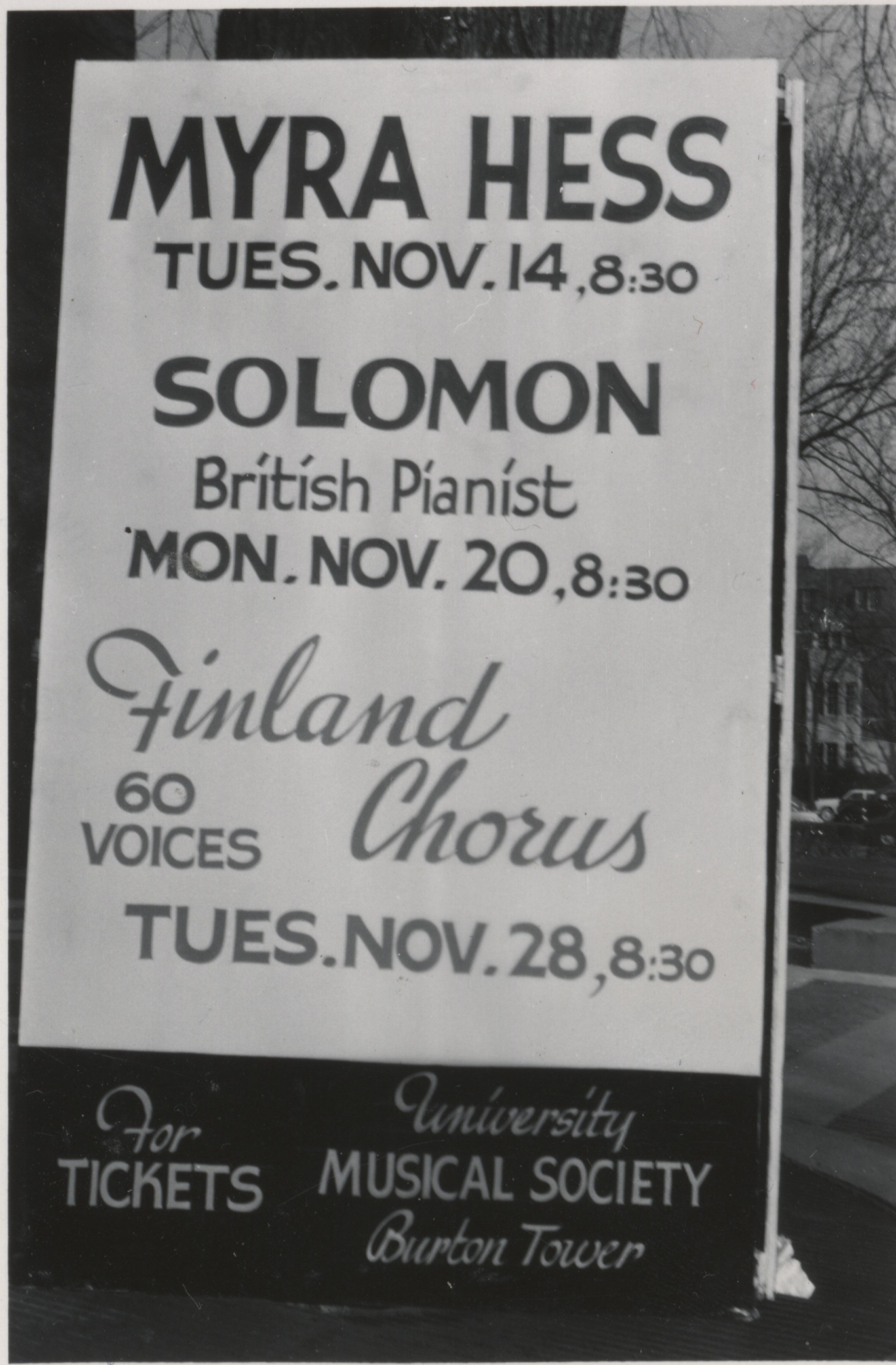 Myra Hess Concert Advertisement