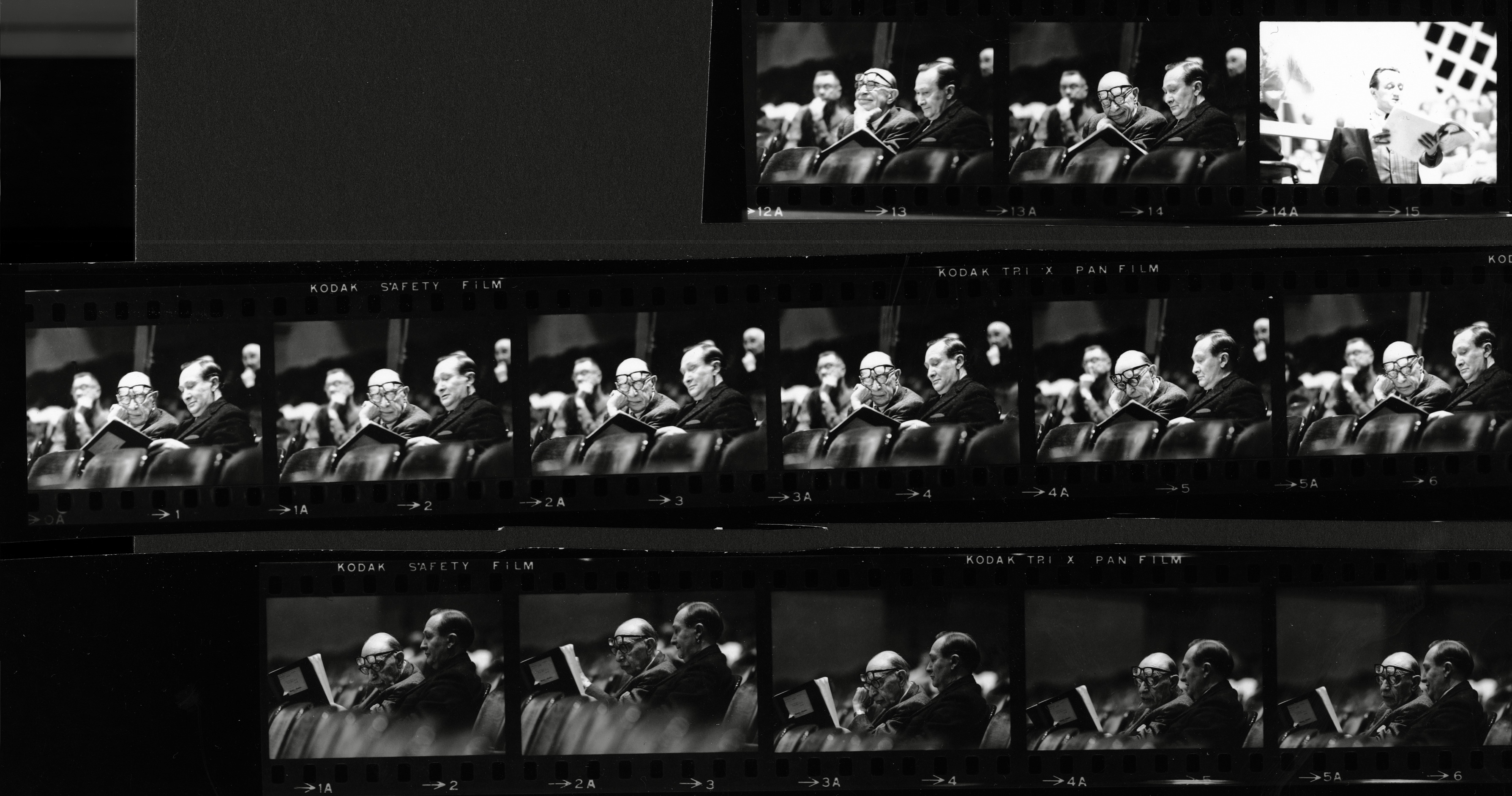 Igor Stravinsky and Lester McCoy in rehearsals, 1964