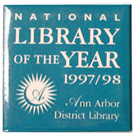 Cover image for AADL Library of the Year Button (1997)
