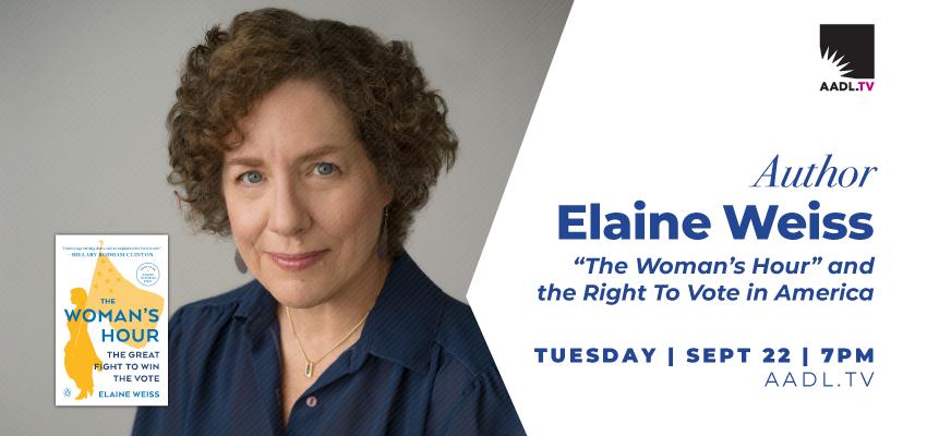 Elaine Weiss Author Event (Thursday, Sept. 22). .