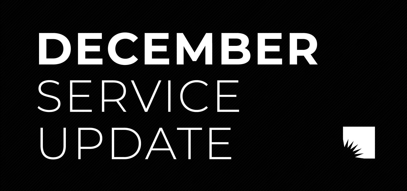DECEMBER UPDATE (11/30). .