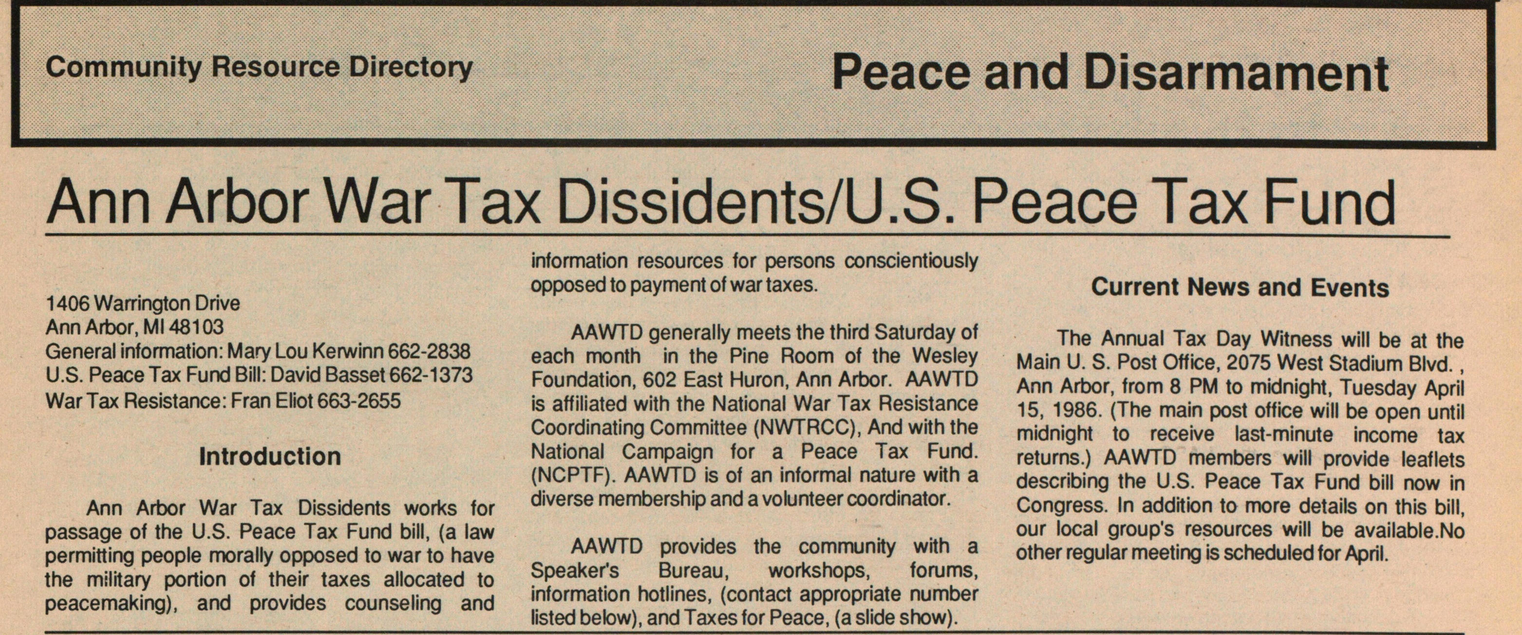 Ann Arbor War Tax Dissidents/U.S. Peace Tax Fund image