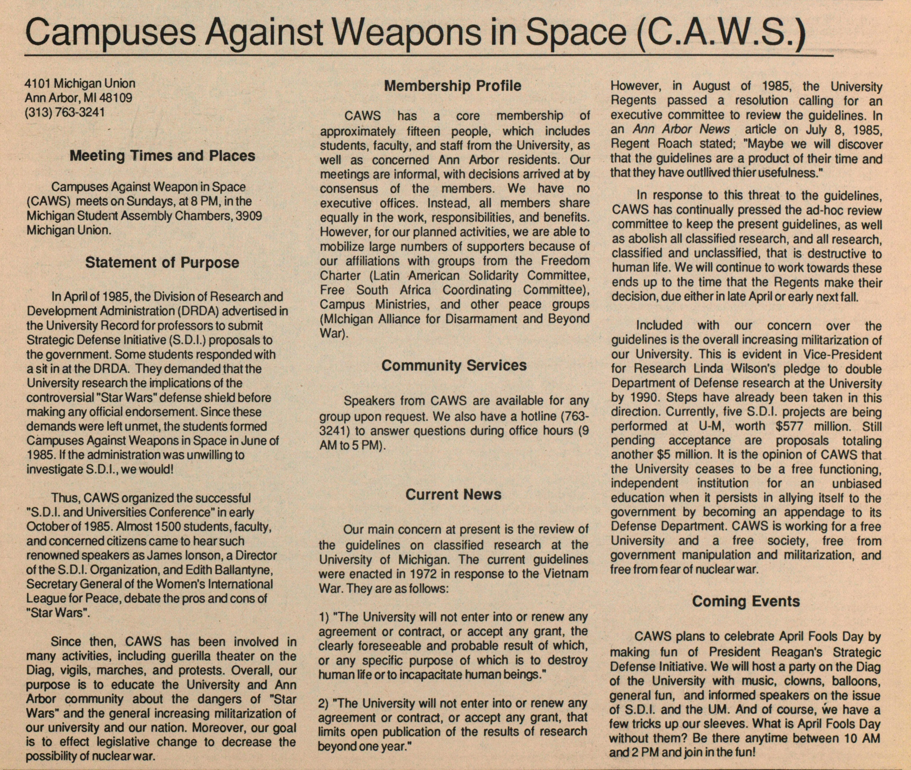 Campuses Against Weapons In Space (C.A.W.S.) image