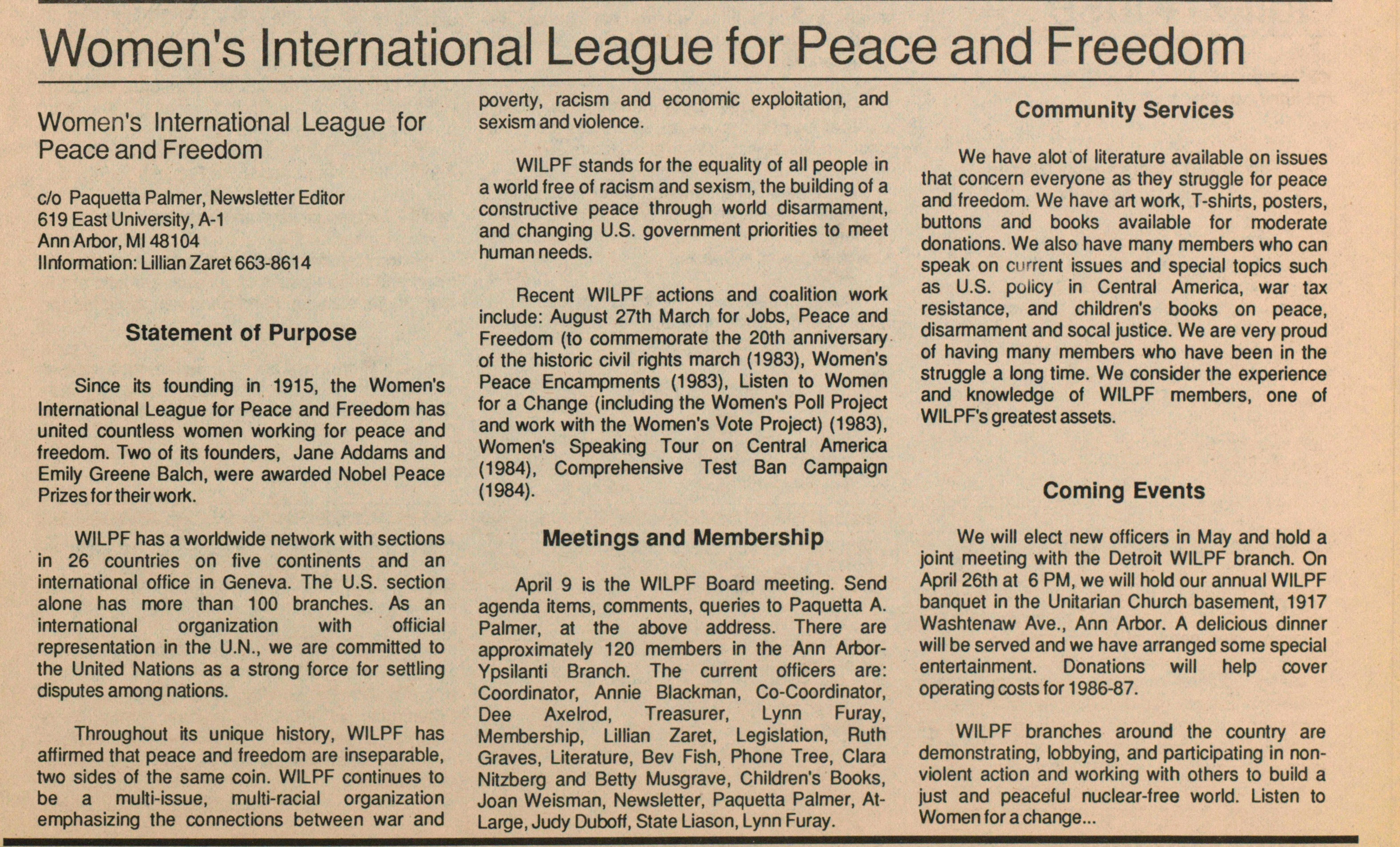 Women's International League For Peace And Freedom image