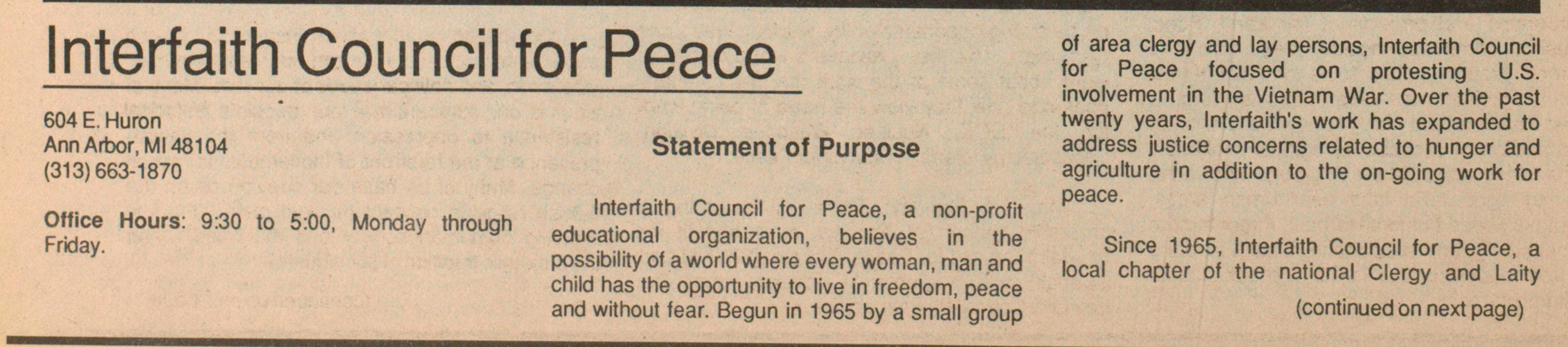 Interfaith Council For Peace image
