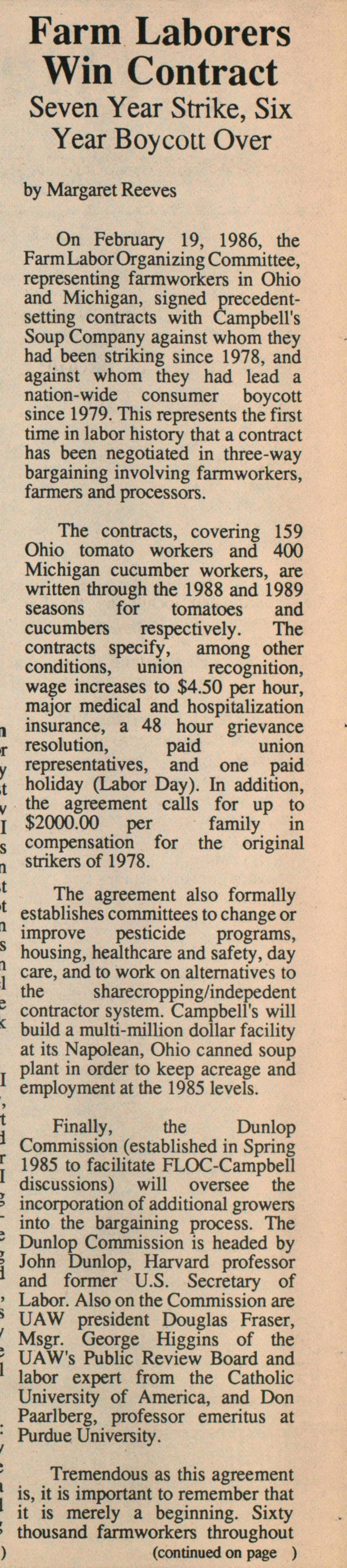 Farm Laborers Win Contract image