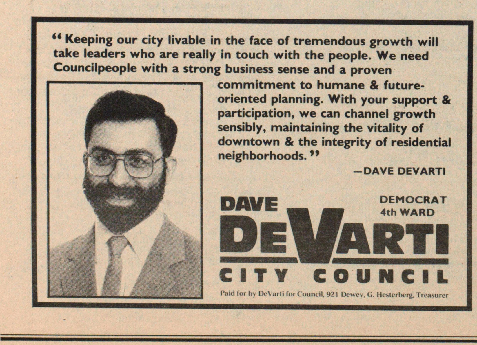 Dave DeVarti for City Council image