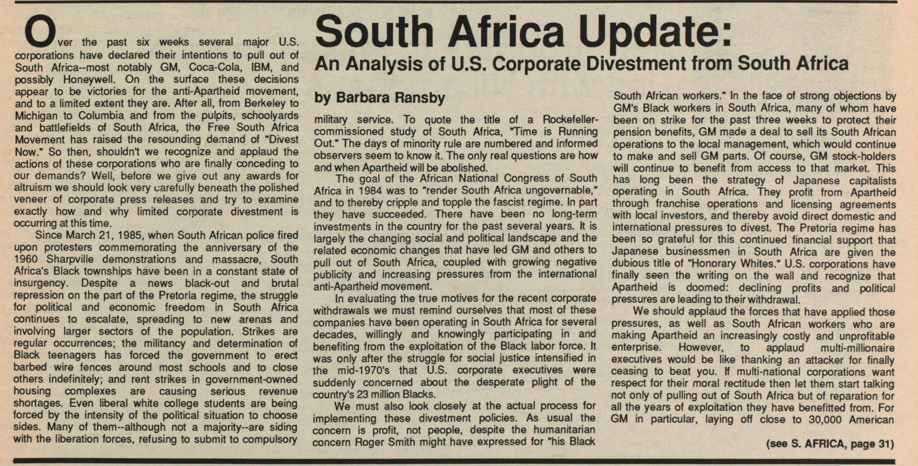South Africa Update: An Analysis Of U.s. Corporate Divestment From South Africa image