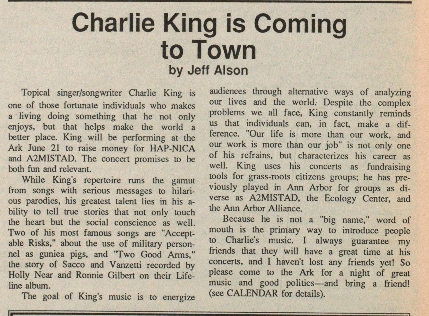 Charlie King Is Coming To Town image