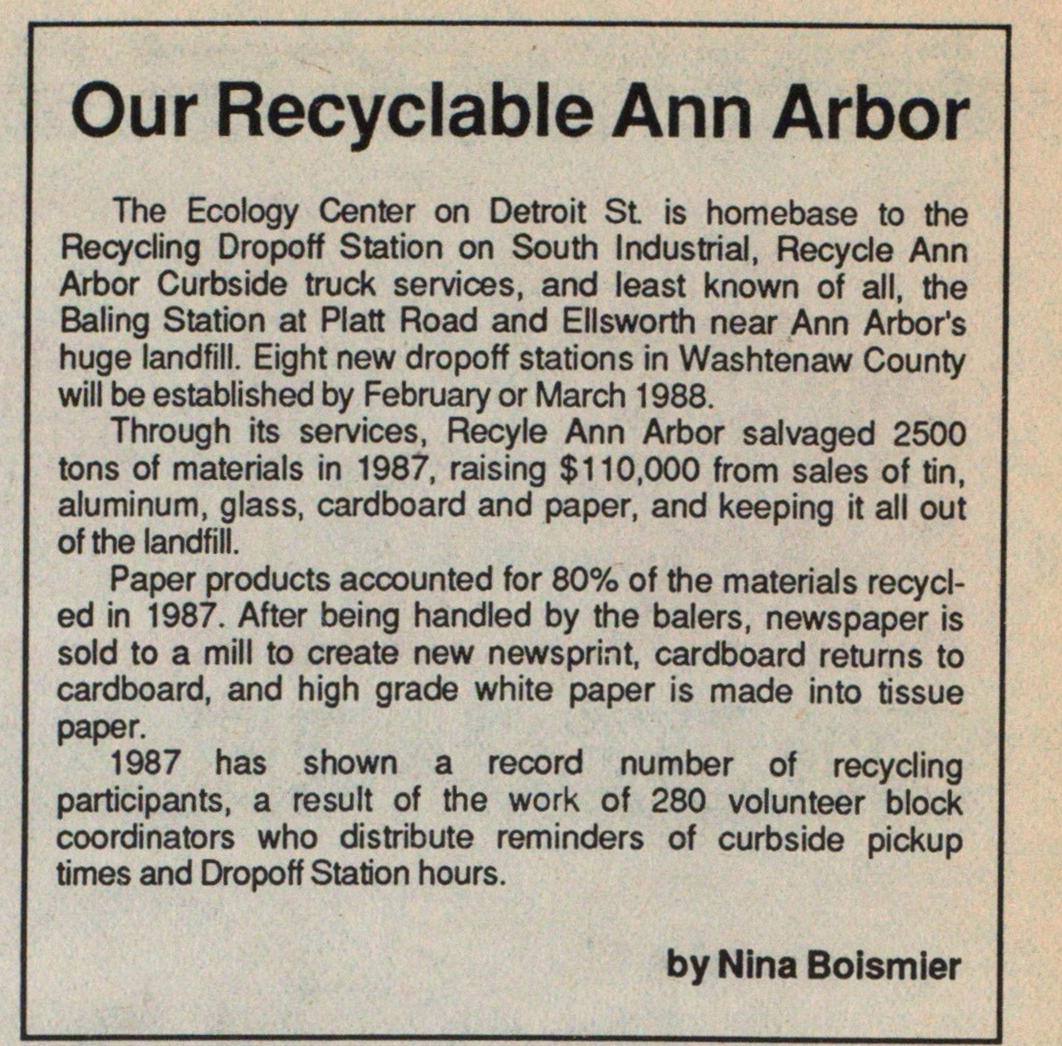 Our Recyclable Ann Arbor image