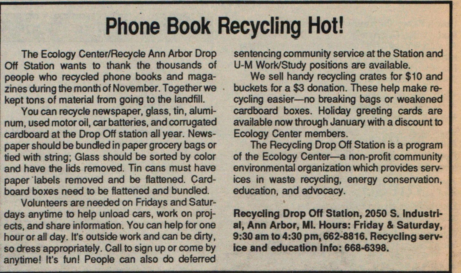 Phone Book Recycling Hot! image