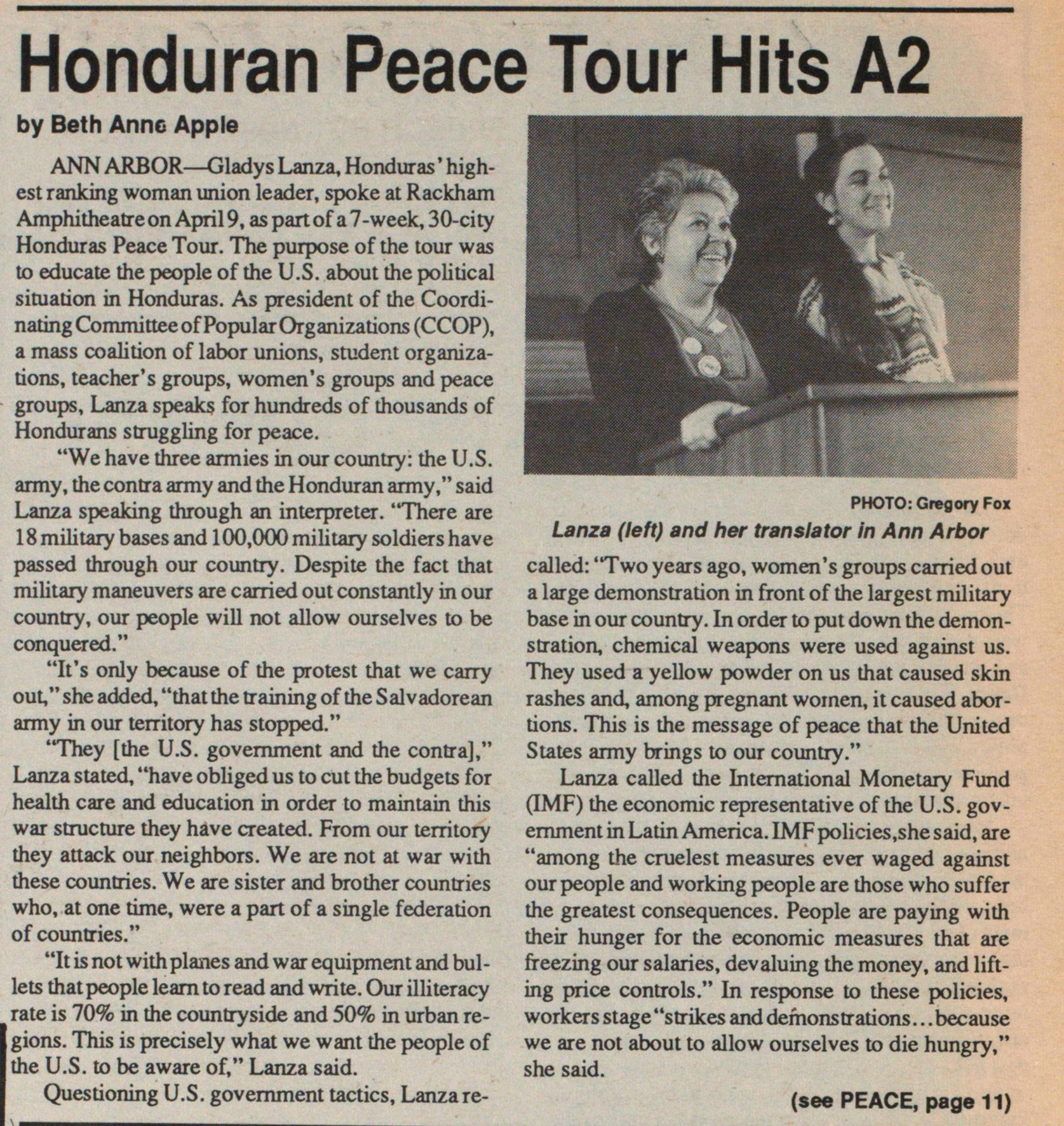 Honduran Peace Tour Hits A2 image