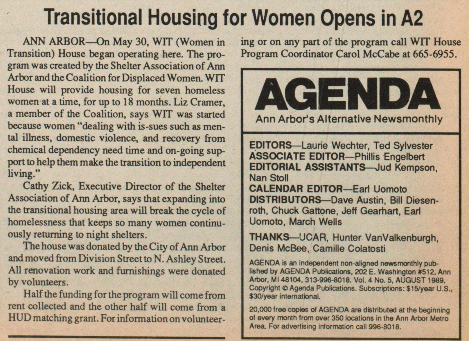 Transitional Housing For Women Opens In A2 image