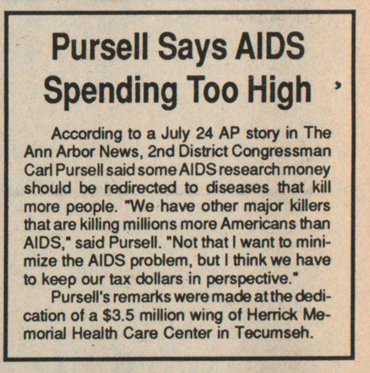 Pursell Says Aids Spending Too High image