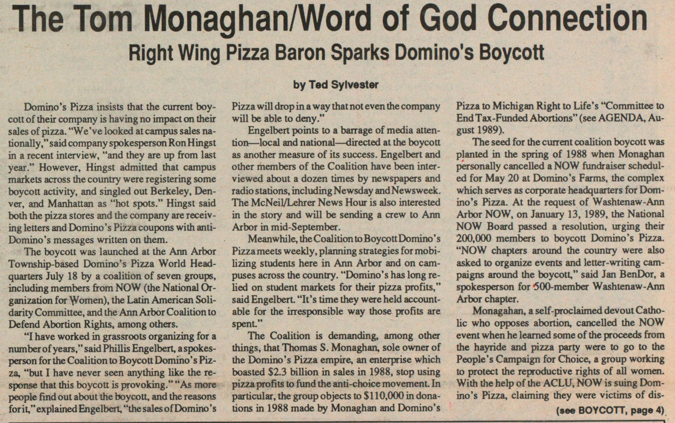 The Tom Monaghanword Of God Connection image