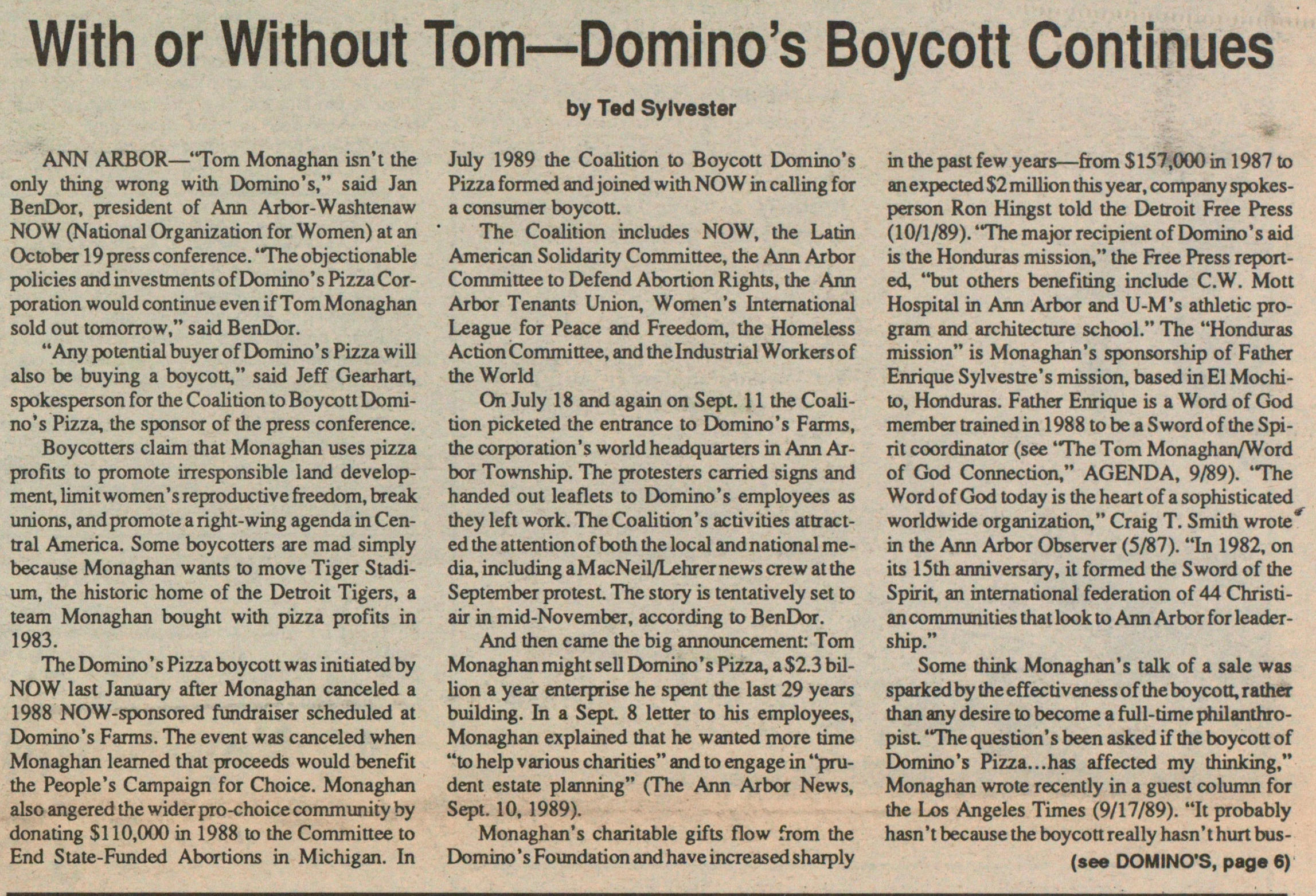 With Or Without Tom--domino's Boycott Continues image
