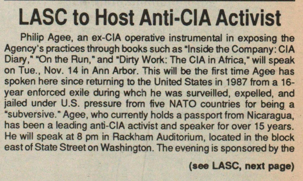 Lasc To Host Anti-cia Activist image