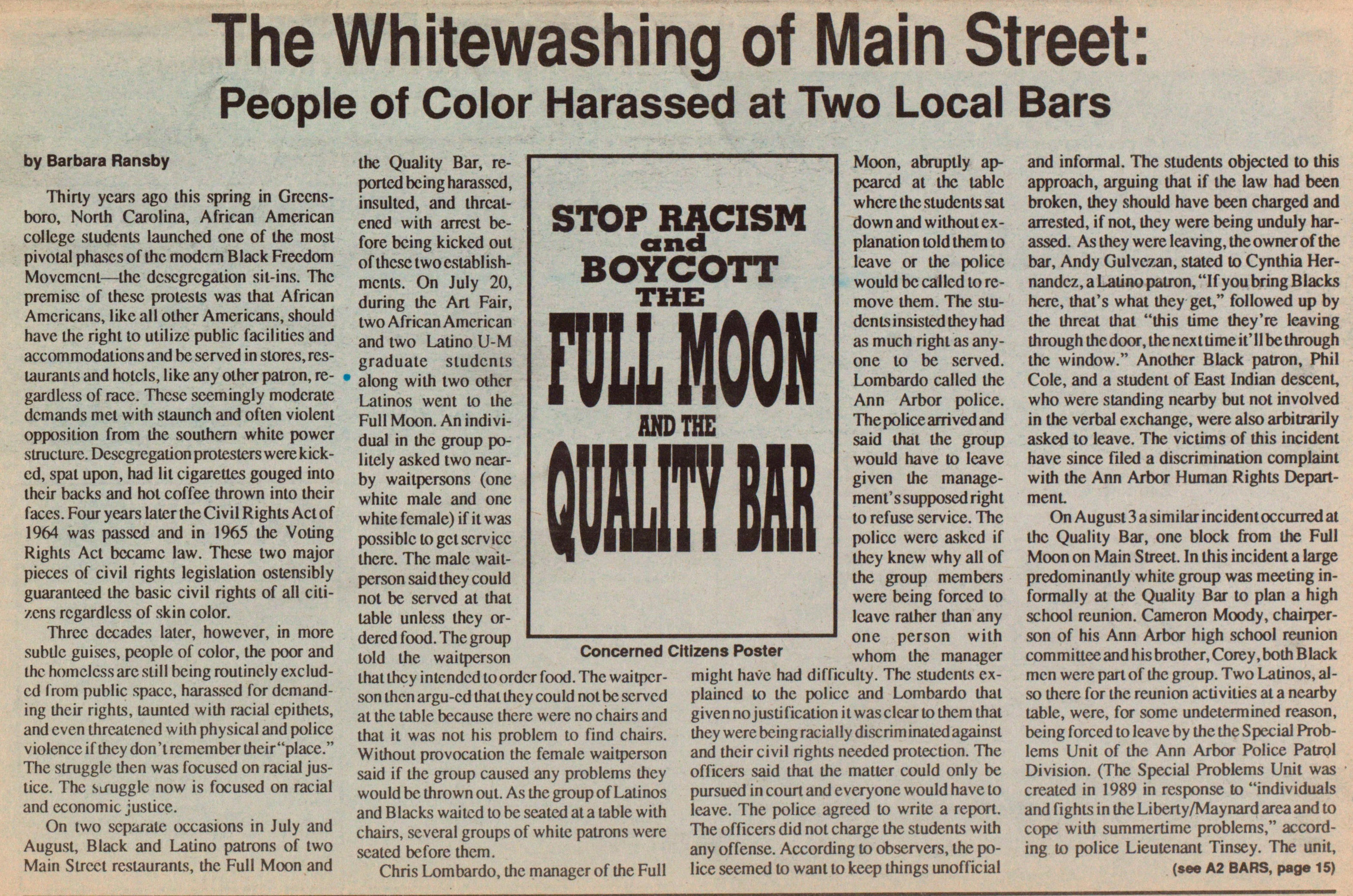 The Whitewashing Of Main Street: People Of Color Harassed At Two Local Bars image