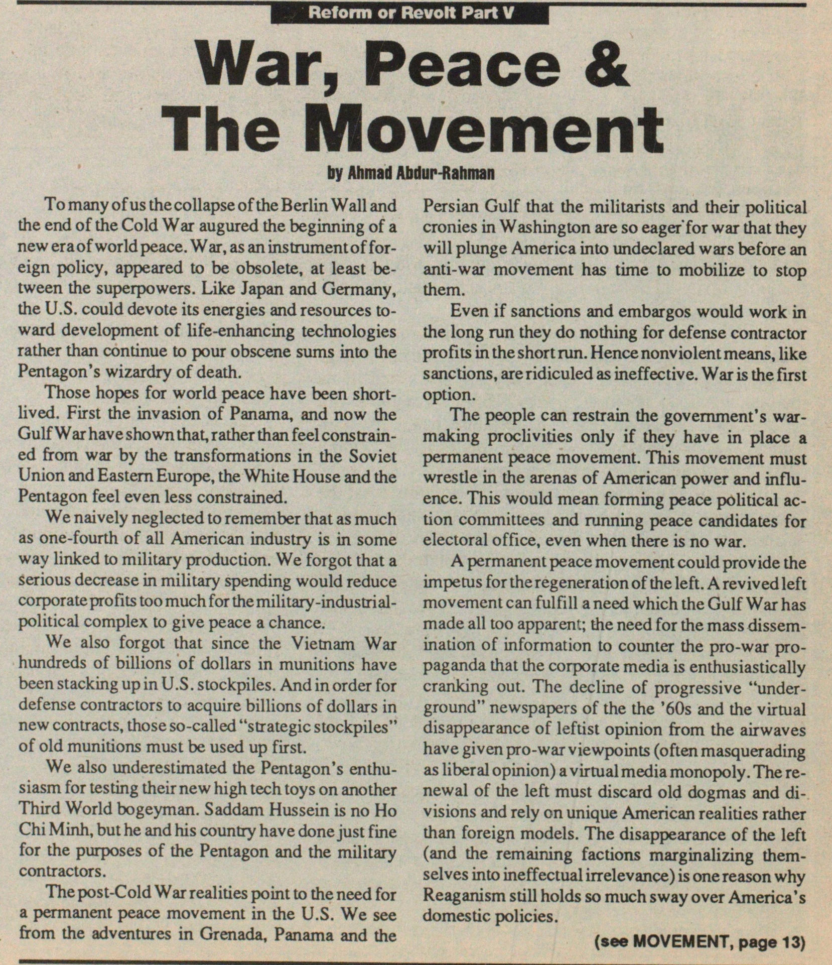 War, Peace & The Movement image