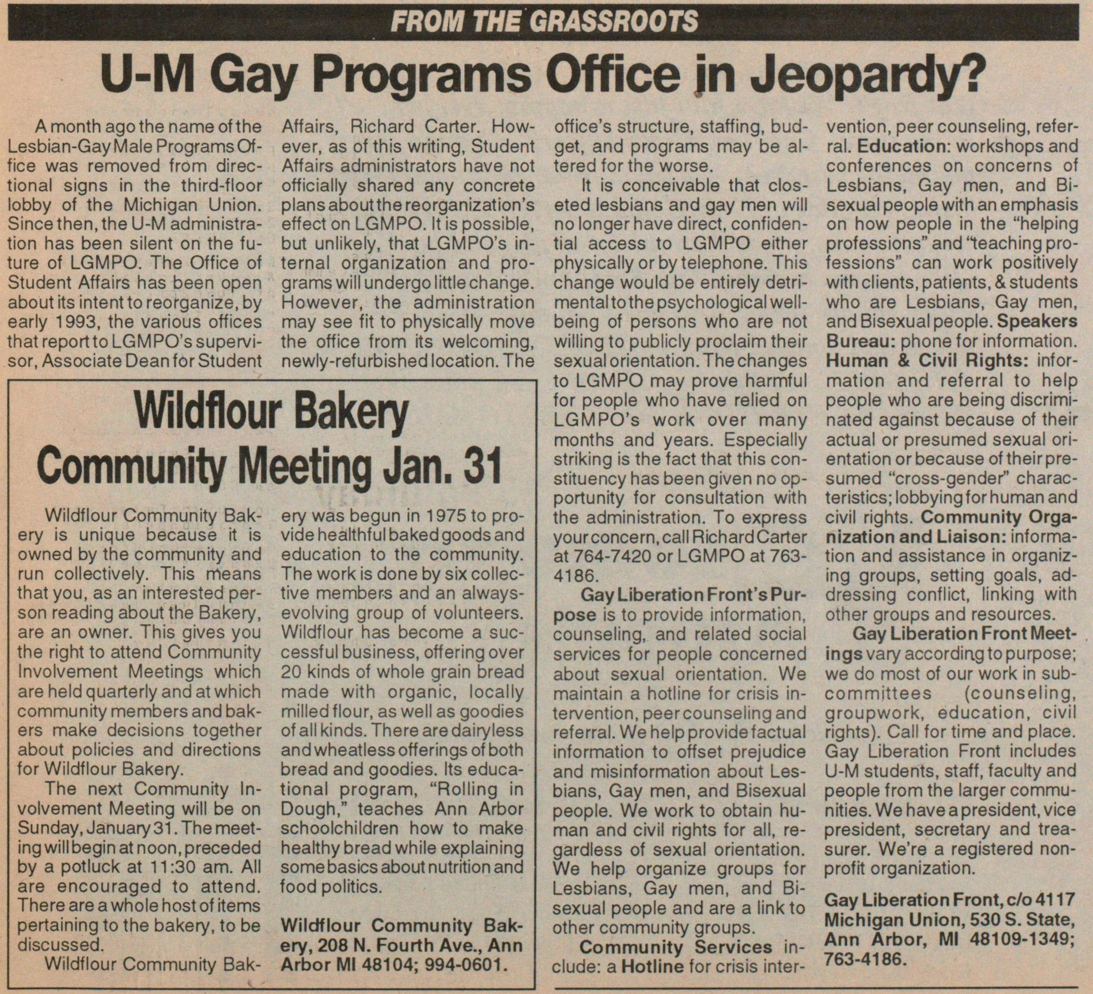U-m Gay Programs Office In Jeopardy? image