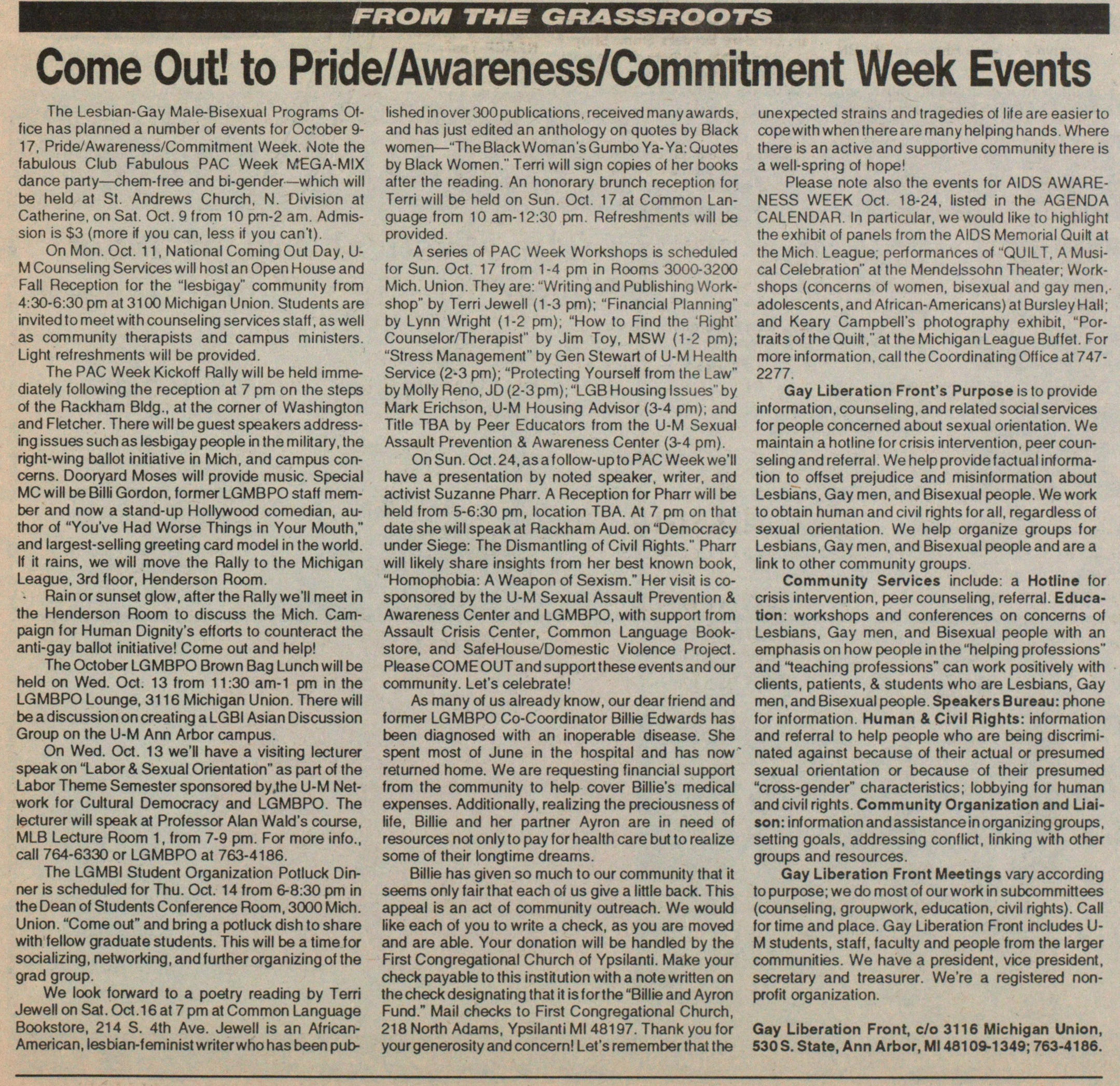 Come Out! To Prideawarenesscommitment Week Events image