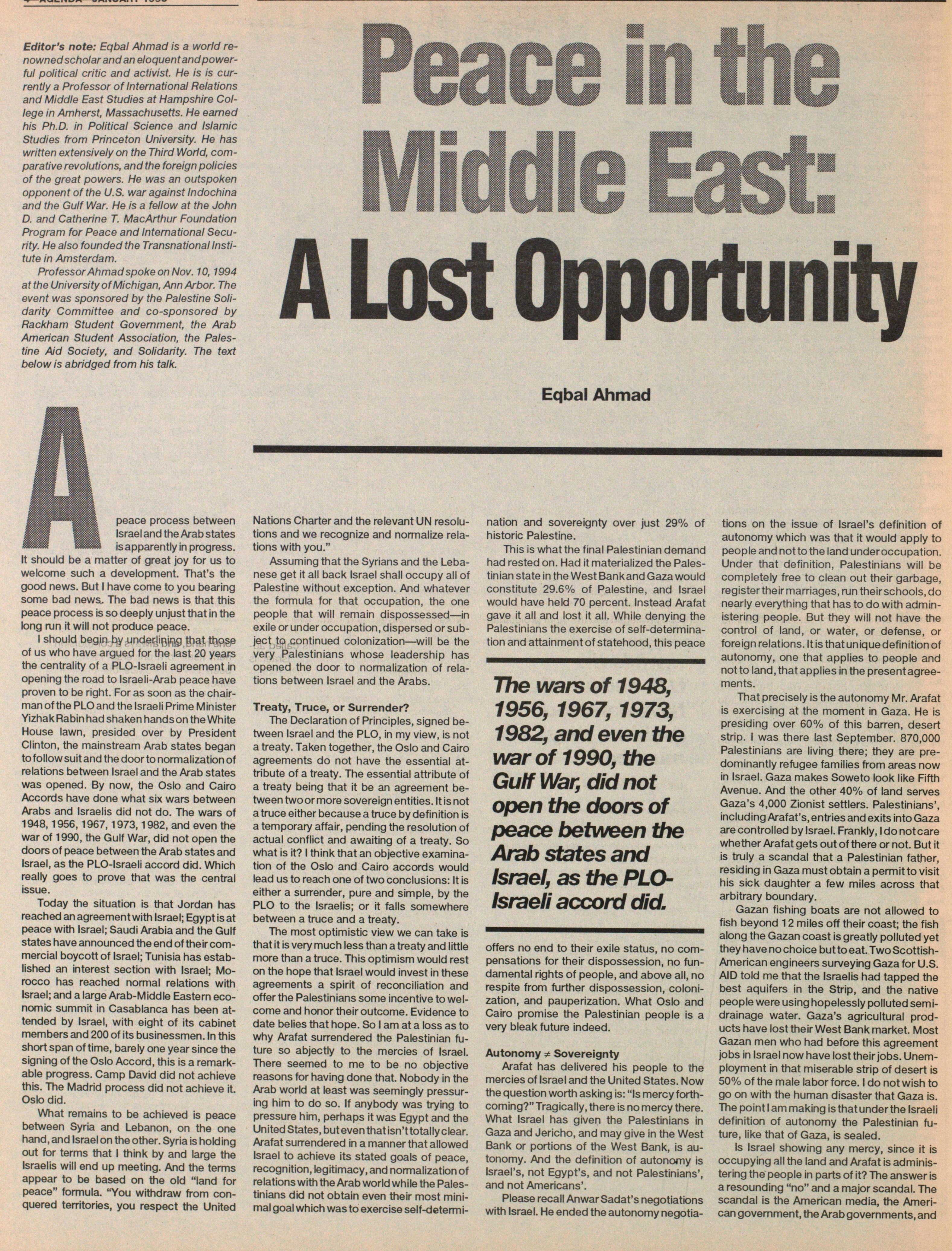 Peace In The Middle East: A Lost Opportunity image