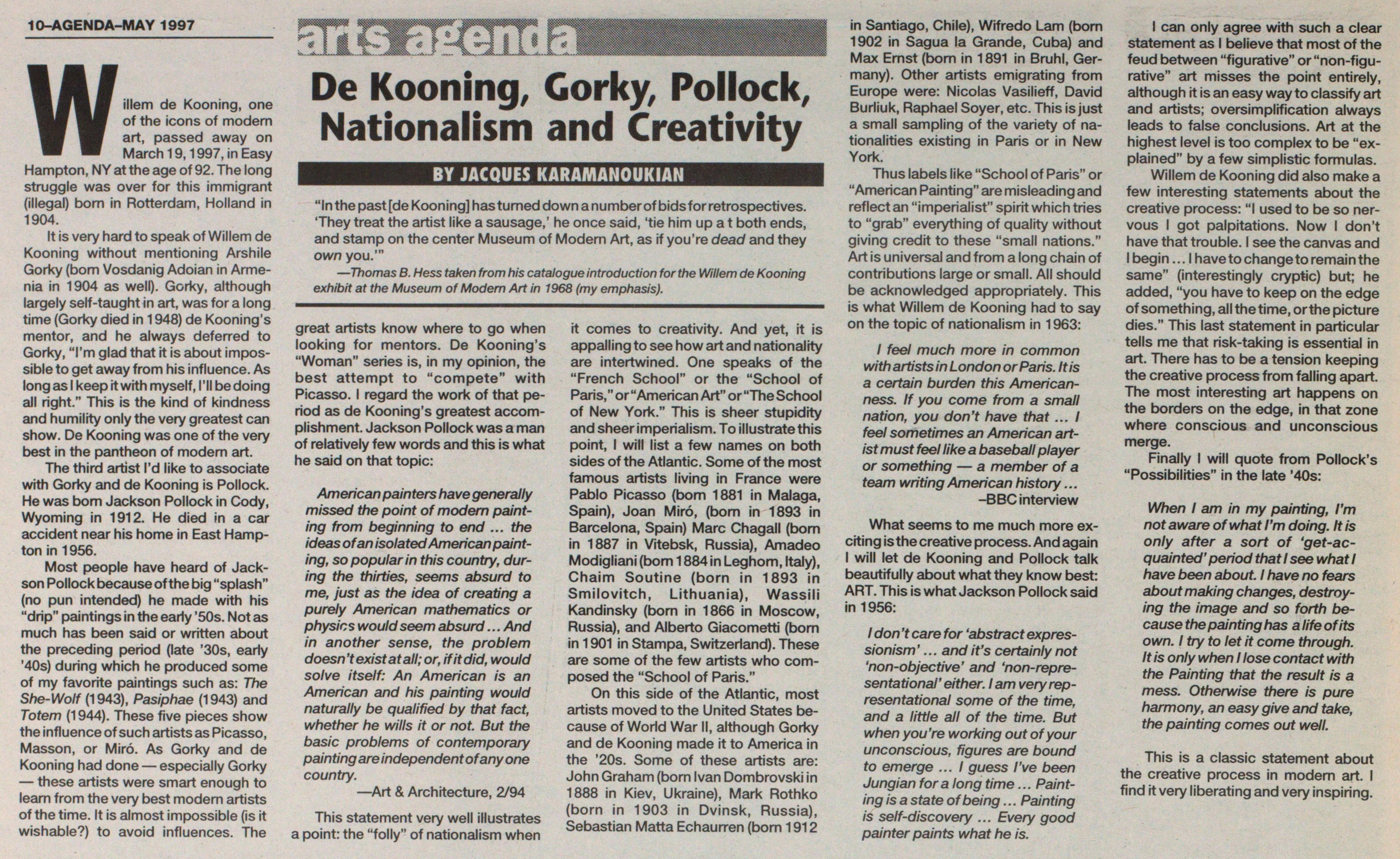 De Kooning, Gorky, Pollock, Nationalism And Creativity image