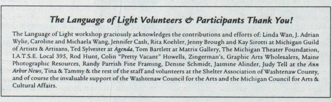 The Language Of Light Volunteers & Participants Thank You! image