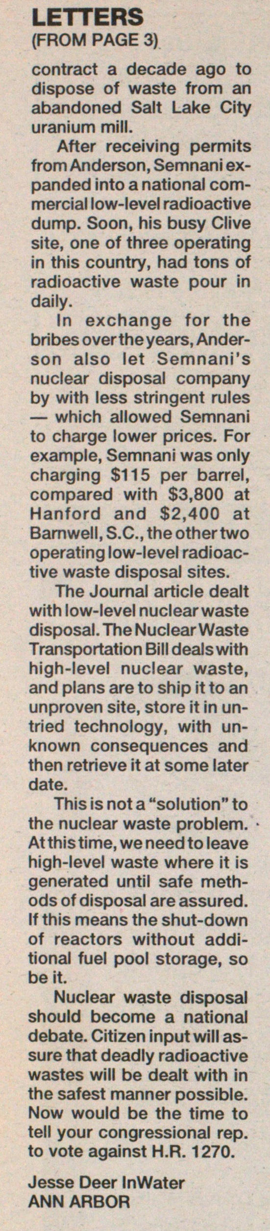 Nuclear Waste Legislation Opposed image