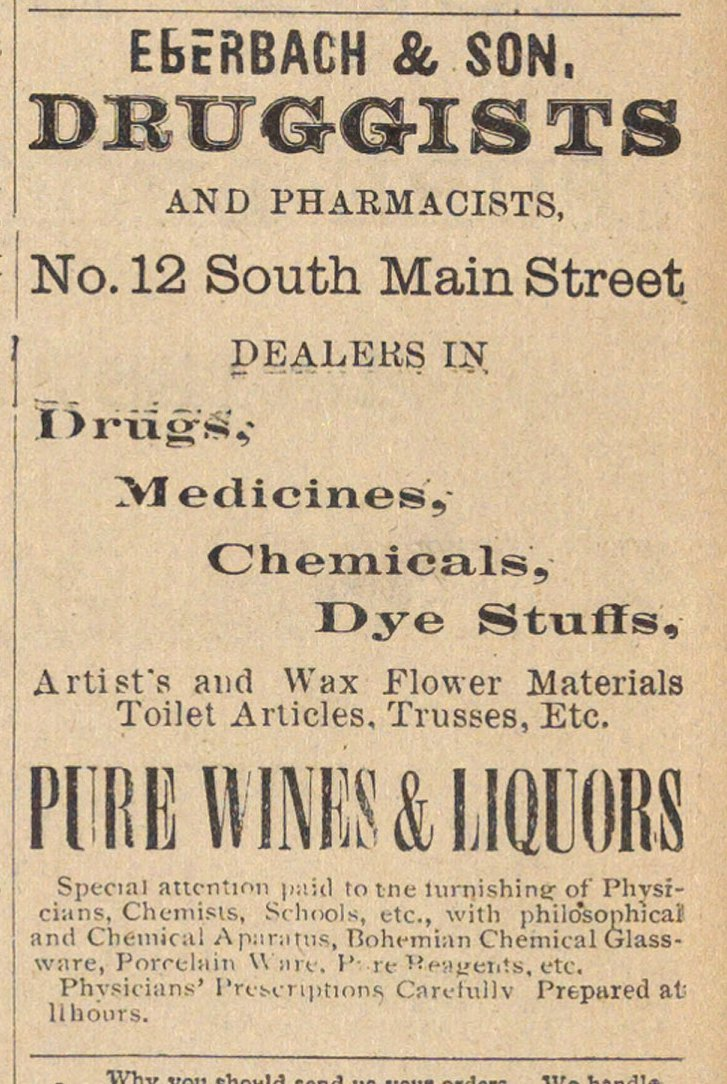 Eberbach & Son. Druggists And Pharmacists image
