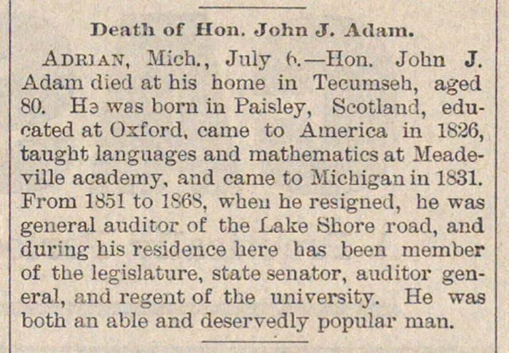Death Of Hon. John J. Adam image
