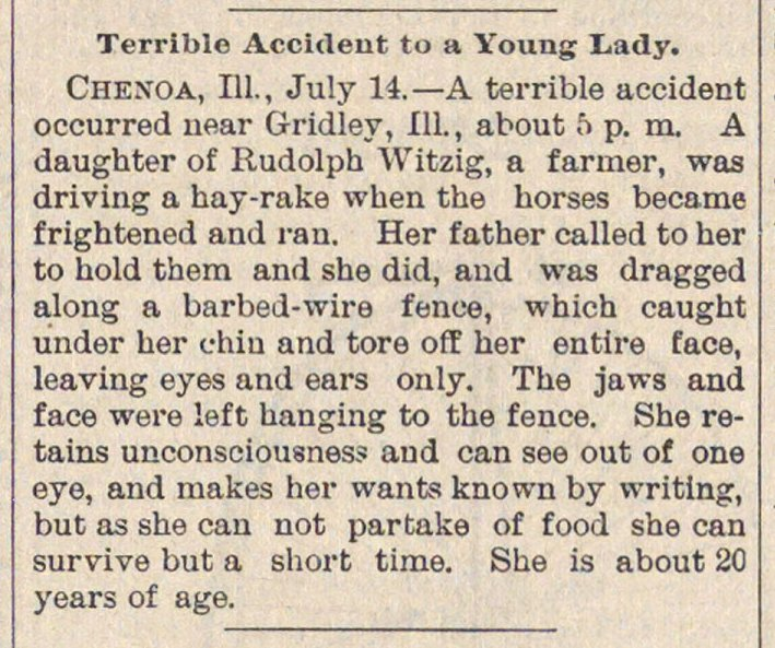 Terrible Accident To A Young Lady image