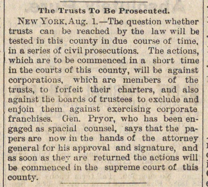 The Trusts To Be Prosecuted image