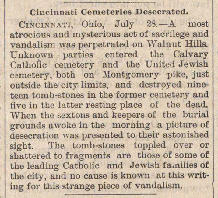 Cincinnati Cemeteries Desecrated image
