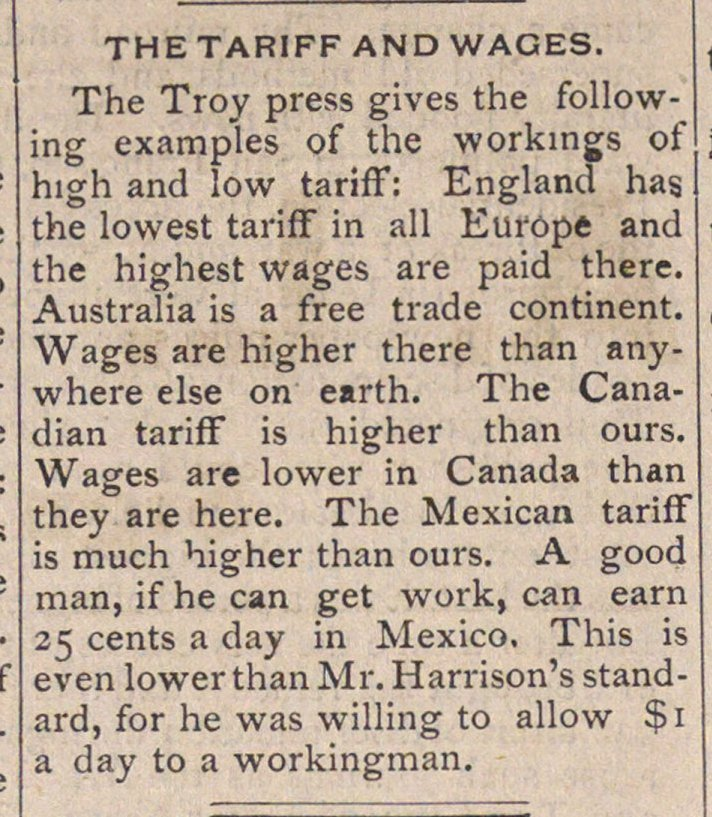 The Tariff And Wages image