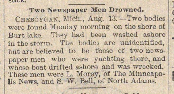 Two Newspaper Men Drowned image